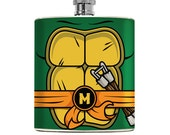 Groomsmen Superhero Orange Mikl Turtles Hip Flask Hip flask 6oz Stainless Steel Drinking Gift Comic Superhero Groomsmen