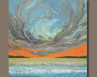 large abstract art, original painting, sunset painting, landscape painting, ocean painting, orange and blue, 30x30, orange, storm clouds
