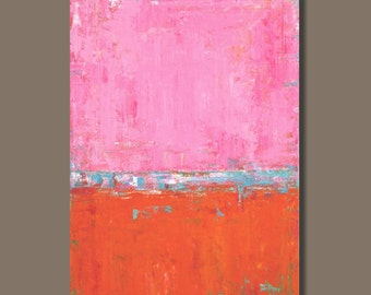 FREE SHIP large abstract painting, color field painting, pink and orange, color block painting, huge art on canvas, original painting modern
