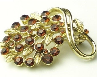 Signed LISNER Topaz Rootbeer Rhinestone Gold Leaf Spray 1950's Vintage Hollywood Glamour Brooch Costume Jewelry Pin Gift For Her on Etsy