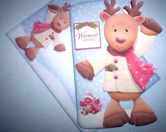 Warmest wishes reindeer Christmas card.