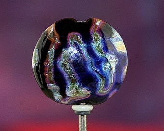 Night Lightning Handmade Lampworked Glass Bead OOAK Lentil Focal Black Copper Blue Silver Lampwork