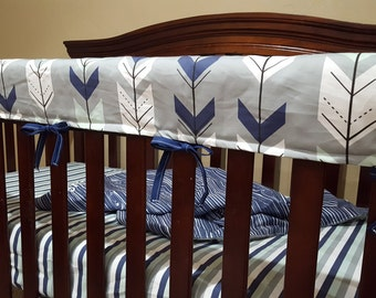 Baby Crib Rail Guard Cover - Gray Fletching Arrow and Navy