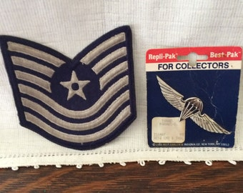 Vintage Israel Parawing Pin and US Air Force Technical Sergeant Insignia Patch