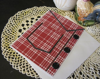 Red Plaid Shirt Pocket Card