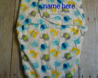 Custom Personalized Minky Swaddle Blanket Elephants