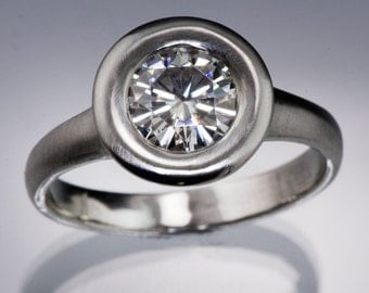 Forever Brilliant Moissanite Low Profile Wide Halo Engagement Ring in Palladium, Platinum, White Gold, Rose & Yellow Gold