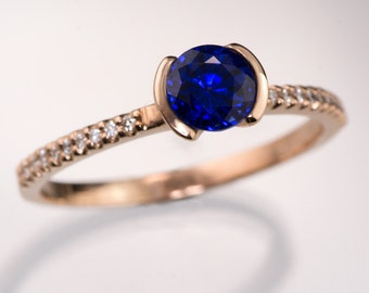 Chatham Blue Sapphire Engagement Ring, narrow Diamond Micro-Pave Band in Rose Gold, Yellow or White Gold, Palladium, ethical engagement ring