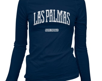 Women's Las Palmas Gran Canaria Long Sleeve Tee - S M L XL 2x - Ladies' Las Palmas T-shirt, Canary Islands, Islas Canarias, Spain - 3 Colors