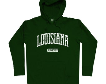 Louisiana Represent Hoodie - Men S M L XL 2x 3x - Louisiana Hoody, Sweatshirt, Lafayette, New Orleans, Baton Rouge, Shreveport - 4 Colors