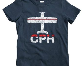 Kids Fly Copenhagen T-shirt - CPH Airport - Baby, Toddler, and Youth Sizes - Kobenhavn Tee, Denmark, Danish, Travel, Gift - 2 Colors