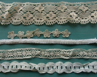 VINTAGE LACE REMNANTS assorted ages, materials