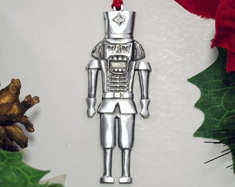 Pewter Nutcracker Christmas Ornament Made in USA