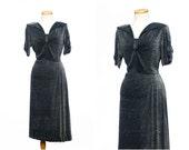 vintage 50s dress // Dramatic LUREX Black Silver Chromespun Dress Side Swag Large