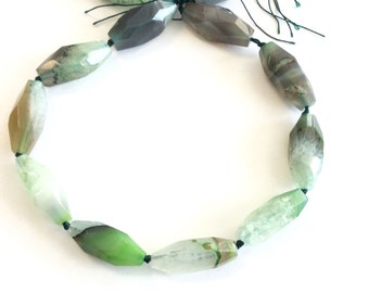 green multi elongate Natural agate Gemstone Beads# 2024