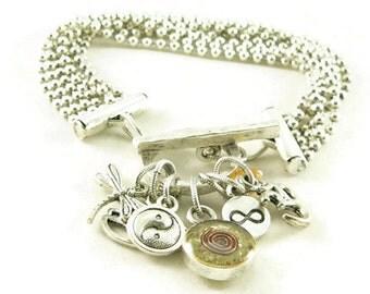 Orgone Energy Multi Strand Zen Charm Bracelet in Antique Silver with Citrine - Meditation Bracelet - Orgone Energy Jewelry - Artisan Jewelry