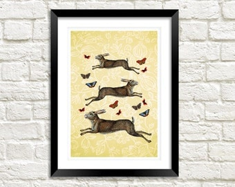 HARES & BUTTERFLIES PRINT: Vintage March Hare Leaping Butterfly Art Illustration Wall Hanging (A4 / A3 Size)