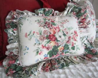 Ruffled Floral late 80s Throw Pillows English Garden by Croscill set of 2