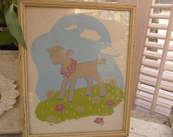 Vintage Lamb Glow in the Dark Framed Lambie Nursery Art 50s