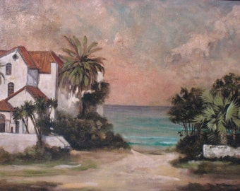 Beach house in oils, Original oil painting, Beach scene in oils, Florida beach scene, Coastal Decor, Tropical Decor, Painting on linen