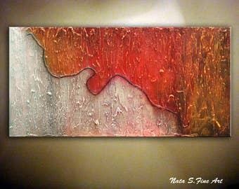 "Large Abstract Painting Original Modern Heavy Textured Art Painting Wall Hangings Modern Wall Decor 48"" x 24"" Ready to Ship  - by Nata S."