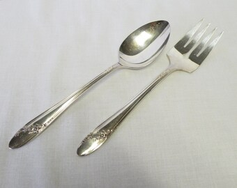 Set of Silverplate Serving Pieces - Queen Bess ll Oneida- Serving Spoon and Fork - Holiday Flatware, Tea Party Service, Weddings, Parties