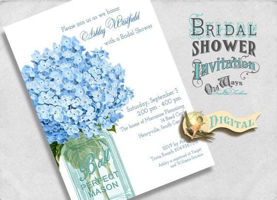 Blue Bridal Shower Invitation - Vintage Mason Jar and Hydrangea Flowers - Printable Custom Bridal Shower Invite 5x7 Digital JPEG orPDF File