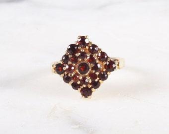 Vintage Gold Garnet Tiered Cluster Ring / Vermeil Sterling Silver Ring / Size 6 3/4