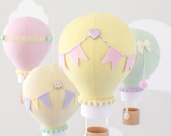 Pastel Baby Mobile, Hot Air Balloon, Travel Theme, Nursery Décor, Yellow, Pink, Lavender, Mint and Ivory, Ceiling Mobile, i198