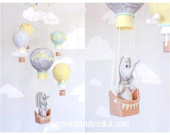 Elephant in a Hot Air Balloon, Baby Mobile, Aqua, Gray and Yellow, Nursery Decor, Travel Theme, Nursery Mobile, i151