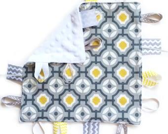 Sale!!! 2 left!!! Geometric Gray - Baby Boy Toy + tag lovey sensory security blanket with white minky modern lattice mustard grey