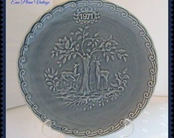 Faience De Stamano France Blue Christmas Holiday Winter Collector Plate Limited Edition 1971