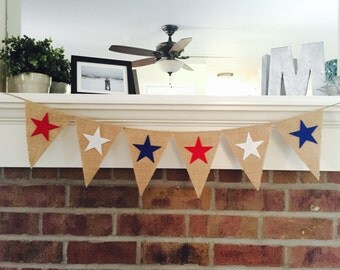4th of July Decor, 4th of July Banner, Patriotic Banner, Memorial Day Banner, American Flag Banner, July 4th Banner, Red White Blue Stars