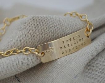 Double Sided Medical ID Charm Bracelet - Personalize