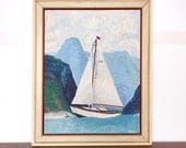 Vintage Sailboat Painting Oil on Board Signed by Judy