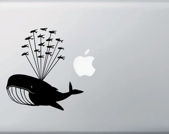 """MB - Whale Airlift with Flying Fish - Design 1 - Whale Laptop Decal Vinyl Sticker ©YYDCo. (5""""w x 5.5""""h) (Color Choices)"""