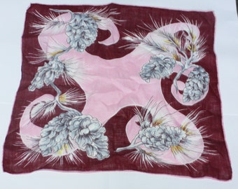 Vintage Handkerchief, Red and Pink, Swirl Design, Plant Design, Great Condition