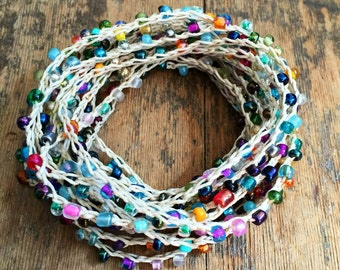 Confetti: Versatile crocheted necklace / bracelet / belt / headband