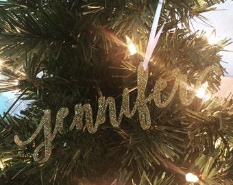 Name Christmas Ornament, Personalized Christmas Ornament, Christmas Ornament Gift, Glitter ornament