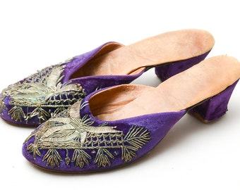 1920s Flapper Shoes Gold Threaded Purple Velvet Slip On Heels Womens 7.5