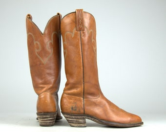 70s Western Boots J Chisholm Brown Stitched Leather Western Cowboy Riding Boots,  Womens 8 / 8.5