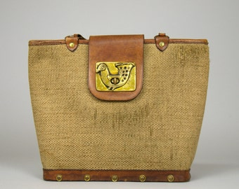 1950s Collins Style Purse Woven Twill and Leather with Brass Peacock Western Purse