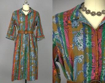 1950s Paisley Mandala Cotton Shirt Dress House Dress