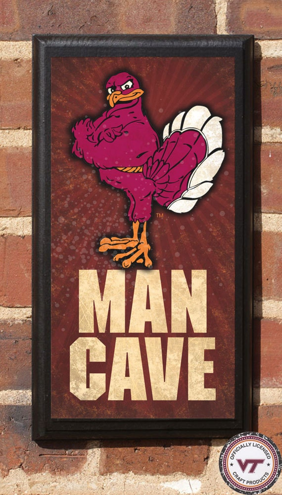 Man Cave Decor Etsy : Virginia tech hokies man cave wall art sign plaque gift