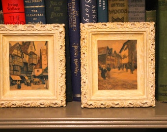 vintage shabby chic baroque PAINTINGS ART made in USA mini plaster 60s