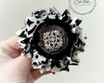 Black and white flower clip, shabby fabric hair clip, shabby flower hair clip, fabric flower hair clip, girls shabby hair clip, frayed clip