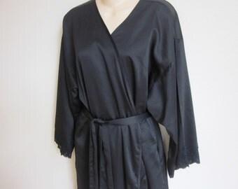 Vintage black kimono robe Natori satiny wrap style floor length L large