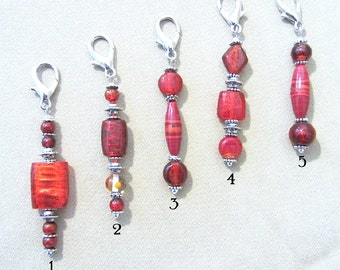 Red Glass Bead & Silver Accent Add a Charm, Beaded Jewelry Purse Charms, Add on Charm Keychain, Red Zipper Pull, Beads to Add to a Keychain