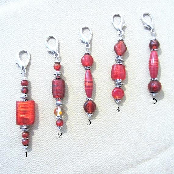 Red Glass Bead & Silver Accent Add a Charm, Keychain Purse Charm Zipper Pull Stylus Charm Guitar Charm, Handmade Fashion Accessory Gift Idea