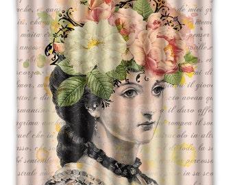 Lina Cavalieri Shower Curtain - Fornasetti - Lina Cavalieri Vintage Print - Shabby Chic, Shower Curtain - Home Decor - bath Home Decor